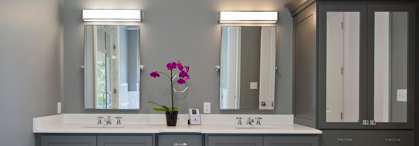 Master Bathroom Lighting Modern Gray Light Fixture Clayton Mo Overland Park Ks Naples Fl Bonita Springs